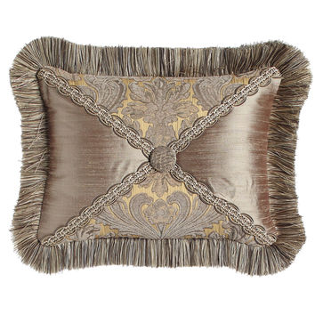 "Winter Twilight Ruched Silk Pillow, 12"" x 24"" - Dian Austin Villa"