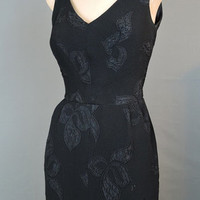 1960s Fitted Black Dress Floral Crepe Gown - fits 34 inch bust