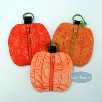 Autumn Harvest Pumpkin Shaped Coin Purse/Key Fob