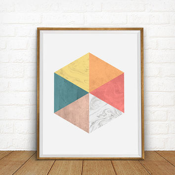 Geometric  Hexagon Art Print, Geometric Artwork, Geometric Triangles, Modern Home Decor, Geometric Abstraction Poster, Abstract Art Poster