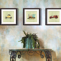 Classic Vintage Red Firetruck 8x8 Room Wall Art Print by Caramel Expressions