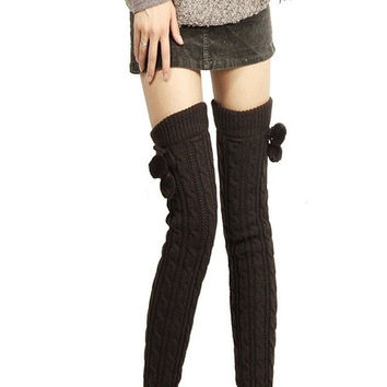 Winter Warm Knitted Long Legging Overknee Socks Women Knit Crochet Leg Warmers Boot Ball Top = 1946444996