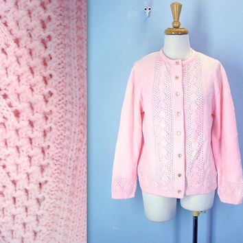60s pink cardigan -  GRANNY sweater - soft pink sweater