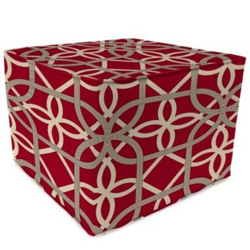 Sunbrella® Outdoor Square Pouf Ottoman in Keene Cherry