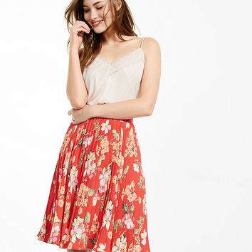 red floral print high waisted pleated midi skirt