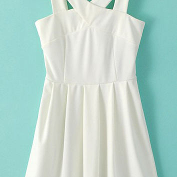 White V-Neckline Strap Pleated Skater Dress