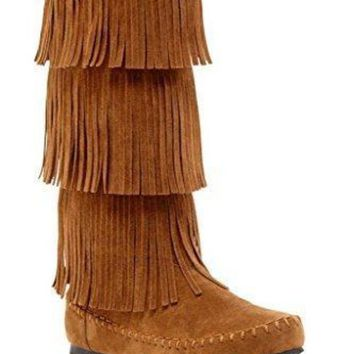 ONETOW Charles Albert Women's 3-Layer Fringe Moccasin Boot UGG boots