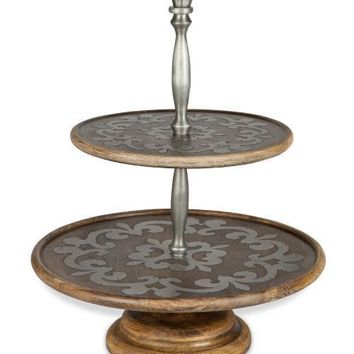 GG Heritage Wood and Metal Inlay Two Tiered Server