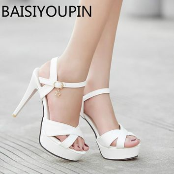 Summer Women High Heels Shoes Lady's Cool Shoes Paltform Fish Mouth Sandals Red Bottom Women's White Dress Shoes Big Size 41