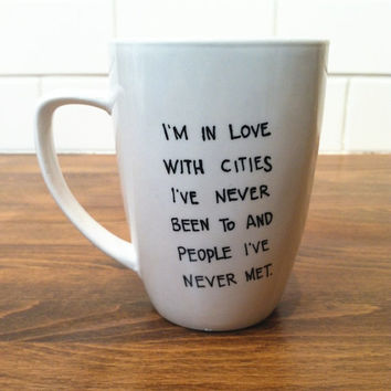 personalized quote mug / coffee cup , personalized mug , coffee mug - paper towns - john green quote