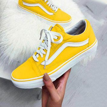 Vans Old Skool Popular Women Men Canvas Flats Sneakers Sport Shoes Yellow