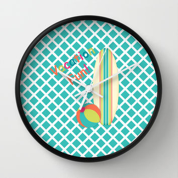Vacation Fun Print Wall Clock by CandyBoxDigital
