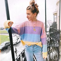 Color Block Patchwork Stripes Loose Pullover Sweater