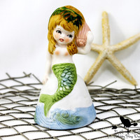 Vintage Mermaid Figurine, Coastal Cottage Decor, Beach House Collectible Bell