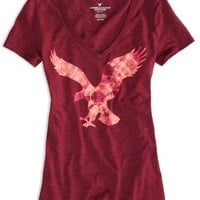 AEO 's Factory Signature Graphic T-shirt (Summer Burgundy)