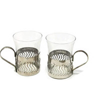Vintage Italian Espresso Coffee Cups Set of 2, Glass and Metal CRISTALLERIE ARTISTICHE Decorate Cups, Small Coffee Cups