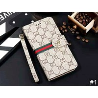 LV & GUCCI & Burberry Tide brand leather lanyard iPhone 7 mobile phone case cover #1