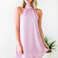 Haute to Trot Halter Neck  Layered Dress - Mauve