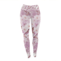 "Monika Strigel ""Endless Cherry"" Pink Floral Yoga Leggings"