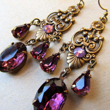 Gothic Earrings Purple Opal Earrings Art Deco Earrings Crystal Chandelier Earrings Art Nouveau Earrings Dark Purple Earrings- Passion