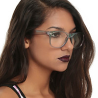 Clear Iridescent Retro Clear Lens Glasses