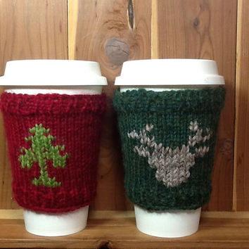 Coffee Cup cozy knitted in green (deer) or red (tree) yarn for standard 16 oz. travel cup, gifts under 10, winter  design, holiday