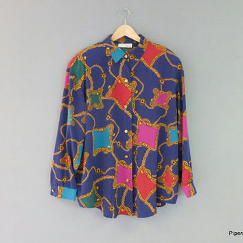 Colorful Silky Oversize Blouse Chain and Belt Design S.G Sports 1990's Color Block Fashion Blouse L-XL