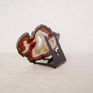 Vintage carnelian and quartz agate slice, slab cut, Brazilian agate slice with druzy parts, agate slice with its stand, early eighties