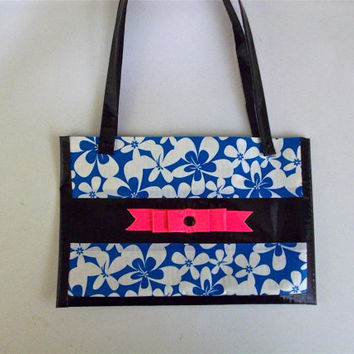 Duct Tape Purse – Blue and White Flowers, Hot Pink Ribbon, Women, Girls