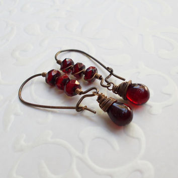 Bohemian wire wrapped cranberry dangle earrings, picasso czech glass, beach wear, kidney earwire, garnet earrings, January birthstone