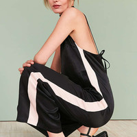 Silence + Noise Side Stripe Satin Slip Jumpsuit | Urban Outfitters