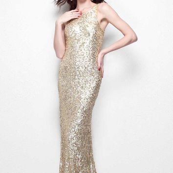 Primavera Couture - Sparkling Sleeveless Full Sequined Long Sheath Dress 1251