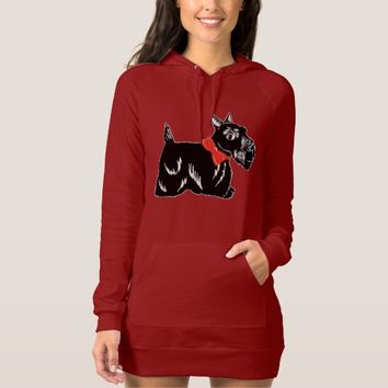 Scottie Dog with a Red Bow Women's Hoodie Dress