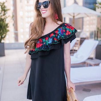 Maya Embroidered One Shoulder Dress