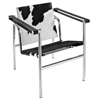 Le Corbusier Style LC1 in Black and White Pony Hide