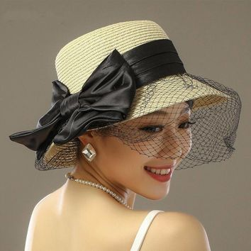 2016 Travel Dot Lace Bowknot Cap Crochet Brim Fedora Straw Hat Vacation  Casual Summer Sunhat Women 7477c2e111f8