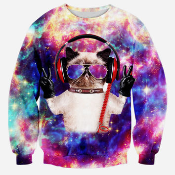 Orion Crew Neck Sweatshirt Men & Women Cats In Space Galaxy Universe Harajuku Style All Over Print Sweater