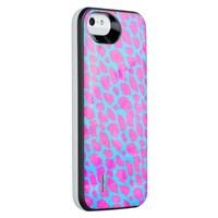 Florescent Pink Blue Cheetah iPhone SE/5/5s Battery Case