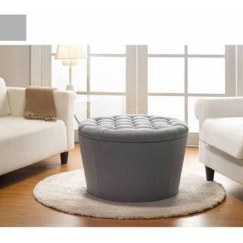 Better Homes and Gardens Round Tufted Storage Ottoman with Nailheads, Multiple Finishes - Walmart.com