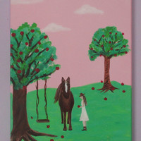 Girls Horse Art, Pink, brown, green, apple tree, Love my horse, painting on canvas, 12x16