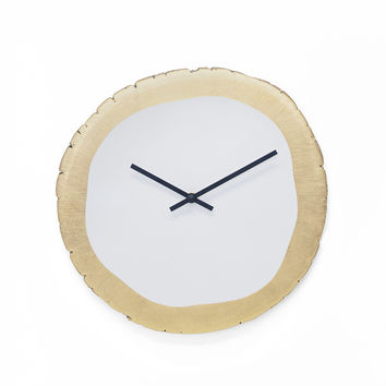 White and Gold Leaf Clock
