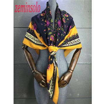 Fashion Luxury Brand Scarves For Women Wraps Silk Scarf Bandana Sheer Beach Chiffon Scarves Women Scarf 120*120cm Square Hijab