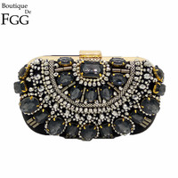 Black Crystal Evening Purse Metal Clutch