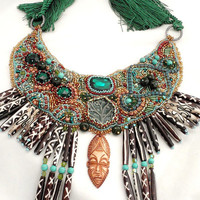 Tribal Statement necklace , African inspired high fashion , ethnic one of a kind tribe jewelry , hand carved wood mask , fashion designer