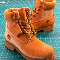 Off White X Timberland Velvet Hiking 6-inch Yellow Boots - Best Online Sale