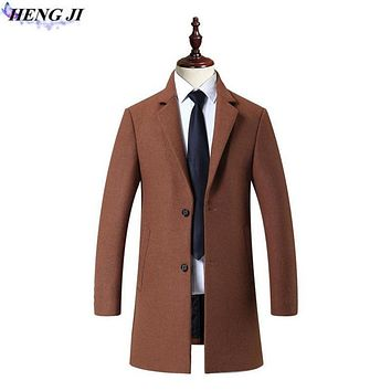 HENG JI Autumn/winter new men's woolen coat, cotton medium long, pure color, men's wool trench coat, high quality, free shipping