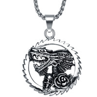 Stainless Steel Gothic Chainring Dragon, Skull, and Rose Flower Pendant Necklace
