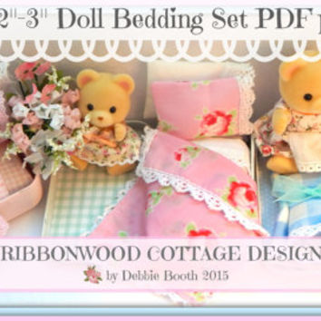 """PDF Pattern Ribbonwood Cottage Little Doll Bed and Bedding  2""""-3"""" Doll size (Calico Critters style doll) instant Download"""