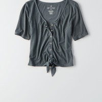 AEO Soft & Sexy Tie-Front Henley Crop Top, True Black