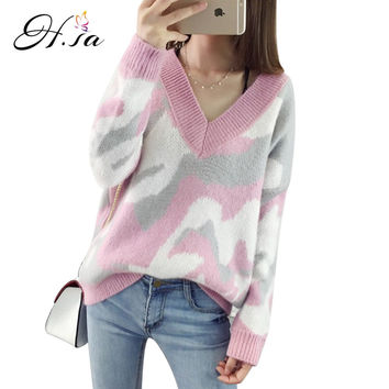 H.SA Women Winter Pullover Sweaters Loose Style Casual Autumn Pull Sweater Jumpers Women Camouflage Pull Long Sleeve Sweter Unif